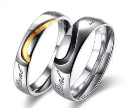 Wholesale Couple Wedding Rings Black Heart - Brand New Wedding Couple Rings Love Heart 316L Stainless Steel 18KP Wedding Engagement Bands Love Rings 10pcs Free shipping