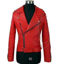 Wholesale original fur coat - Original black oblique zipper belt epaulet short coat PU leather jacket fashion mens motorcycle faux leather jackets and coats