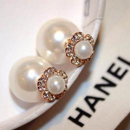 Wholesale camellia flower earrings - hot sale Fashion luxury Europe America super glittering Camellia flower diamond rhinestone zircon pearl designer woman lady stud earring