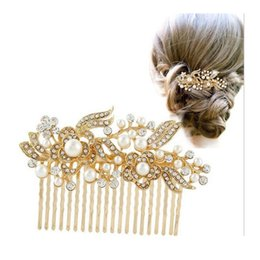 Wholesale Gold Flower Hair Comb - Gold Silver Rhinestone Crystals Comb Flower Hair Comb for Wedding Women Jewelry Hair Accessories party hair Comb Free Shipping