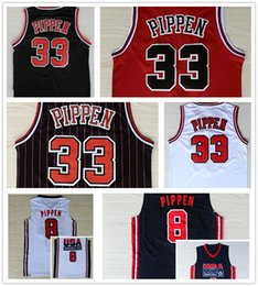 Wholesale Usa Home Jersey - Retro 33 Scottie Pippen Jersey 1992 USA Dream Team 8 Scottie Pippen Basketball Jerseys Throwback Uniforms Home Red Black White Navy Blue