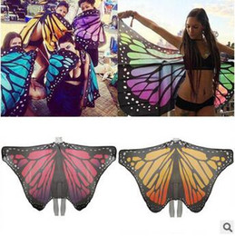Wholesale Butterfly Skirt Child - 4 Colors Butterfly Peacock Wing Beach Towel Multi Function Tippet Chiffon Skirt Cover Up Yoga Mat Light Portable Loop Towels CCA5995 60pcs