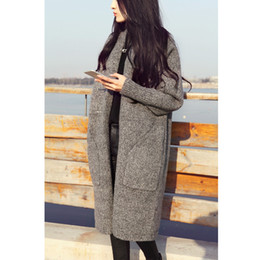 Wholesale Camel Winter - New Long Cardigan Women Autumn Winter Sweater Women Solid Ladies Long Sleeve Knitted Cardigans Sweater Gray Camel Color