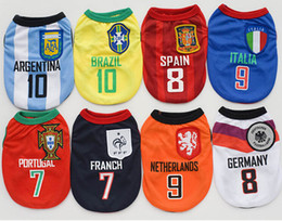 Wholesale Dog Jerseys - Spring Summer Dog Vest Dog Football Shirt Puppy Pet Soccer Jersey Cool Football Dog Clothes - 8 Teams Uniforms of all Sizes