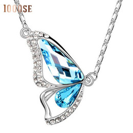 Wholesale Sell Swarovski Necklace - A woman selling genuine pendant using SWAROVSKI Elements Crystal Necklace butterfly jewelry wholesale