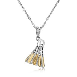 Wholesale Chinese Silver Necklaces - 2017 New badminton sports pendant Chinese version of the personalized creative titanium steel necklace pendants jewelry FREE SHIPPING