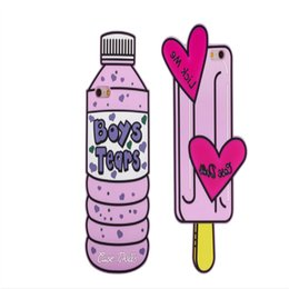 Wholesale Mineral Bottles Wholesale - Sweet 3D mineral water Bottle Love Ice Cream Phone Case Couples Soft Silicone Rubber Case for Iphone 7 6 6s Plus 2017 New