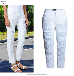 Wholesale womens summer jeans - Wholesale- Womens Boyfriend Style Ripped Hole High-Waist Fashion Jeans Elastic Stretch Denim Straight Solid White Color Skinny Summer Jea