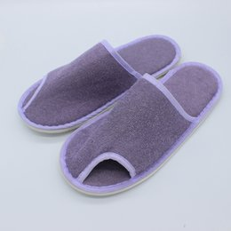 Wholesale One Time Slippers Hotel - Slippers disposable towel hotel slipper non slip spa home shoes comfortable one time loafer high soft quality