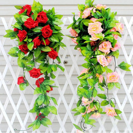 Wholesale Green Silk Leaves Wholesale - Wholesale- 250cm Fake Silk Roses Ivy Vine Artificial Flowers with Green Leaves For Home Wedding Decoration Hanging Garland Decor