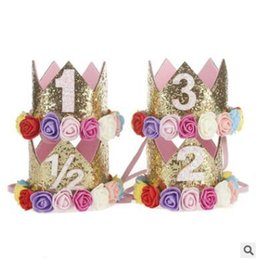 Wholesale Baby Birthday Girl Tiara - Fashion Princess Birthday Hat Headband Sequins Gold & Pink Flowers Crown Photo Props Party Decorations Headband for Baby and Girls Head Wear