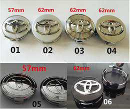 Wholesale Toyota Chrome Badges - Mix 6logos 57mm 60mm 62mm chrome toyota Wheel Center Caps Plastic Wheel Covers hub car badges emblem for Toyota Auto Parts black grid