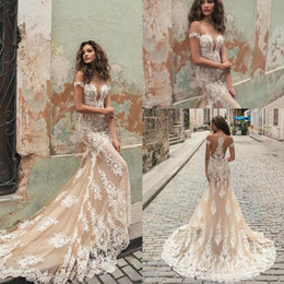Wholesale Custom Bridal Gowns China - Gorgeous 2018 Berta Mermaid Wedding Dresses Champagne Tulle Ivory Lace Applique Sexy Bridal Gowns Custom Made China EN111511