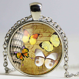 Wholesale Butterfly Necklace Purple - New Arrival Purple Butterfly Silver Plated Animal Necklace Time Stone Glass Cabochon Pendant Necklaces for Women