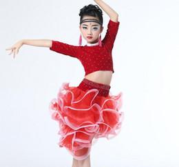 Wholesale Girls Samba Dress - q0228 New Design Latin Dance Dress for Girls Samba Dress Professional Latin Dance Cha Cha Rumba Samba Tango Ballroom Dance