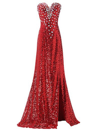 Wholesale Blue Front Lace Up Corset - Gorgeous Custom Made Sequin Evening Dresses Red Long Prom Dress Strapless Crystal Split Corset Women Party Gowns Long Homecoming Dresses
