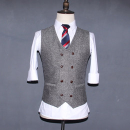 Wholesale Slim Fit Gray Wool Suit - 2017 Grey Double Breasted Wedding Brown Wool Herringbone Tweed Vests Groom's Suit Vest Slim Fit Tailor Wedding Vest Men V07