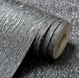 metallic paper rolls Coupons - Wholesale- Modern Plain Solid Abstract Strpes Metallic Texture Vinyl Wallpaper For Walls in Roll Silver Grey   Beige Wall Paper Roll 10M