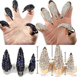 Wholesale diamond nail ring jewelry - Fashion punk Diamond cat demon claws sharp long finger nail women Talon finger rings cosplay nail art jewelry