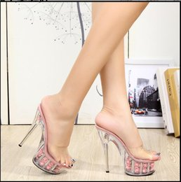 Wholesale High Heels Transparent Platform - Big Size 2017 New Transparent Women Pumps Sexy Crystal High Heels Platform Sandals Flower Crystal Bottom Slides Nightclub Shoes