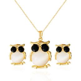 Wholesale Fine Boutique - Fine Jewelry sets foreign trade new jewelry set color opal boutique suite owl necklace earrings wholesale