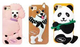 Wholesale Super Cute Iphone Cases - 3D Cute Lovely Cartoon Korea Super Wiggle Poodle Corgi Panda Soft Silicon case For Iphone 6 6s plus 7 8 plus phone cover