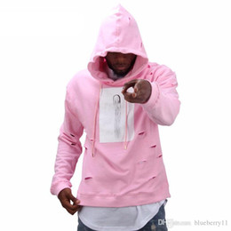 Wholesale Mens Pink Tracksuit - Mens hip hop pink hoodies sweat suit tracksuit men with the hole hoodies winter male streetwear free shippi