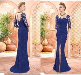 Wholesale Women Button Front Shirt - Royal Blue Lace Mother Dresses 2017 Long Sleeves Appliques Column Sheath Split Mother Of The Bride Gowns Sexy Elegant Women Evening Dress