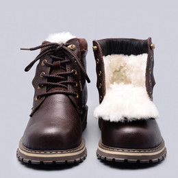 Wholesale Snow Boots Sheep - Wholesale-Size 38~50 Natural Wool Winter Boots Russian Style Full grain leather Sheep Fur Handmade Men Winter Snow Boots #YM8988