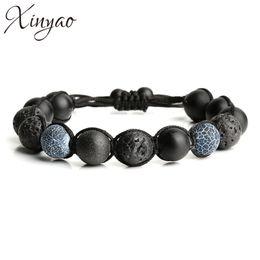 Wholesale Macrame Charms - Wholesale- 2016 Handmade Natural Black Lava Stone & Matte Beads Bead Bracelet Men Macrame Yoga Bracelets For Women Pulseira Masculina F5204