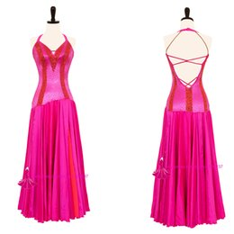 Wholesale Tango Sexy Red Dresses - Standard Ballroom Dress High Quality Competition Dance Wear Red Sexy Tango Flamenco Waltz Dancing Costume
