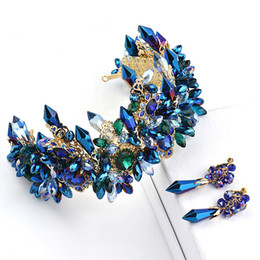 Wholesale Gold Rhinestone Wedding Bridal Tiara - Vintage Wedding Bridal Baroque Blue Rhinestone Crystal Crown Tiara Headband Earring Jewelry Set Luxury Headpiece Princess Hair Accessories