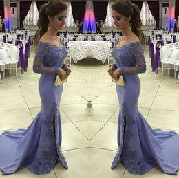 Wholesale Elegant Maternity Wear - Elegant Purple Appliques Mermaid Side Split Long Sleeves Dresses Evening Wear Off-the-Shoulder Sweep Train Prom Dress