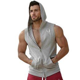 Wholesale Workout Hoodies Mens - Wholesale free shipping Men Hooded Sleeveless Undershirt Cotton Vest Waistcoat Sleeveless Tank top Mens Workout Fitness Hoodies Sweatshirts