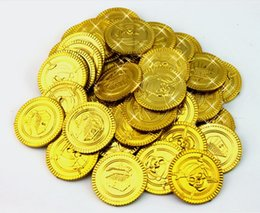 Wholesale Money Coins Games - free shipping game currency pirate treasure game halloween play money pirate party props christmas decoration pirate coins 100pcs lot