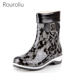 Wholesale Mid Calf Rain Boots - New Women Winter Warm Rain Boots Non-slip Mid-calf Rainboots Waterproof Buckle Water Shoes Woman Wellies With Socks ZM292