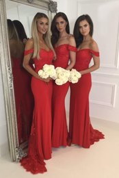 Wholesale Lace Bridemaid Gowns - 2017 Red Lace Bridemaid Dress Off the Shoulder Bridemaid Gowns Sweep Train Maid of Honor Dresses Custom Made