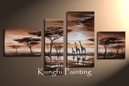 Wholesale Large African Art Wall Pictures - 4-5003 100% Hand Painted Good Quality Decorative Wall Panels Large Art African Giraffe Paintings 4 panel wall art