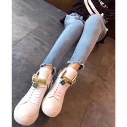 Botas de gran tamaño para mujer online-Gran tamaño unisex abrochado hi-top zapatillas botines para hombre Mujer 5 colores