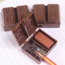 Wholesale Pencil Erasers For Kids - Lovely Creative Chocolate Office school Supplies Plastic Pencil Sharpener With Eraser For Kids School Supplies Korean Student Stationery