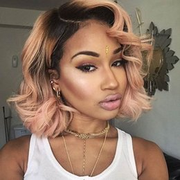 Wholesale Wig Short White - Hotselling Body Wavy Short wig Black Ombre Pink Synthetic Lace Front Wig Heat Resistant Fiber For Black and white Women
