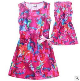 Wholesale Baby Costum - Trolls Kid Printing Dress Sleeveless Beach Dress For Girls Costum Trolls For Baby Clothing Kids Dress With Cute Bow Trolls Clothes Z