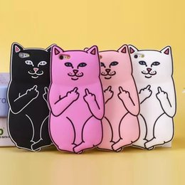 iphone case cat animal Australia - Middle Finger Cat Cell Phone Case Base Pocket Despise Cat Silicone Animals Cartoon Mobile Phone Cover For Iphone 7 6 6s Pius 5
