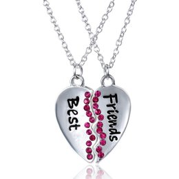 Wholesale Heart Bff Necklaces - 2 pcs set Best Friends Broken Heart Pendant Necklace For Sister Women Men Crystal Rhinestones Friendship Gift BFF Jewelry