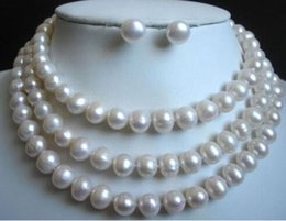 Wholesale Real Sea Pearl Earring - 50 9-10MM REAL SOUTH SEA WHITE PEARL NECKLACE EARRING