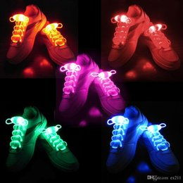 Wholesale Kids Wholesale Party Shoes - 30pcs(15 Pairs) Boys Girls Kids Light Up LED Shoelaces Flash Party Disco Shoe Laces Shoe Strings Free Drop shipping Stock HG23 VAN