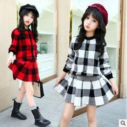 Wholesale Girls Skirt Coat - Children plaid outfits big girls lattice long sleeve single breasted sweater cardigan coat+knitting skirt 2pc sets kids princess set R0304