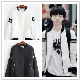 Wholesale Uniform Cardigan Sweater - Tfboys Wang Junkai Wang Yi Xi smelt one thousand with a baseball uniform long sleeved sweater loose tide Floral Casual Jacket