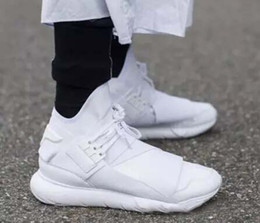 Wholesale Size 45 Mens Shoes - 2017 All White Color Mens Y3 Qasa High Top Sneakers Good Quality Womens Shoe Unisex Men Classic Y-3 Black Shoes Boots Size 36-45
