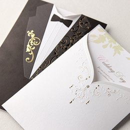 Wholesale Dress Shaped Cards - Wholesale- (10 pieces lot) Western Style Bride And Groom Dress Wedding Invitation Card White And Black Full Dress Shape Wedding Card CW2011